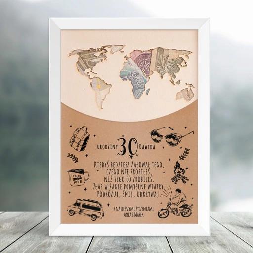 Plakat Urodzinowy Mapa Swiata Na Pieniadze Gifts Vintage World Maps World Map