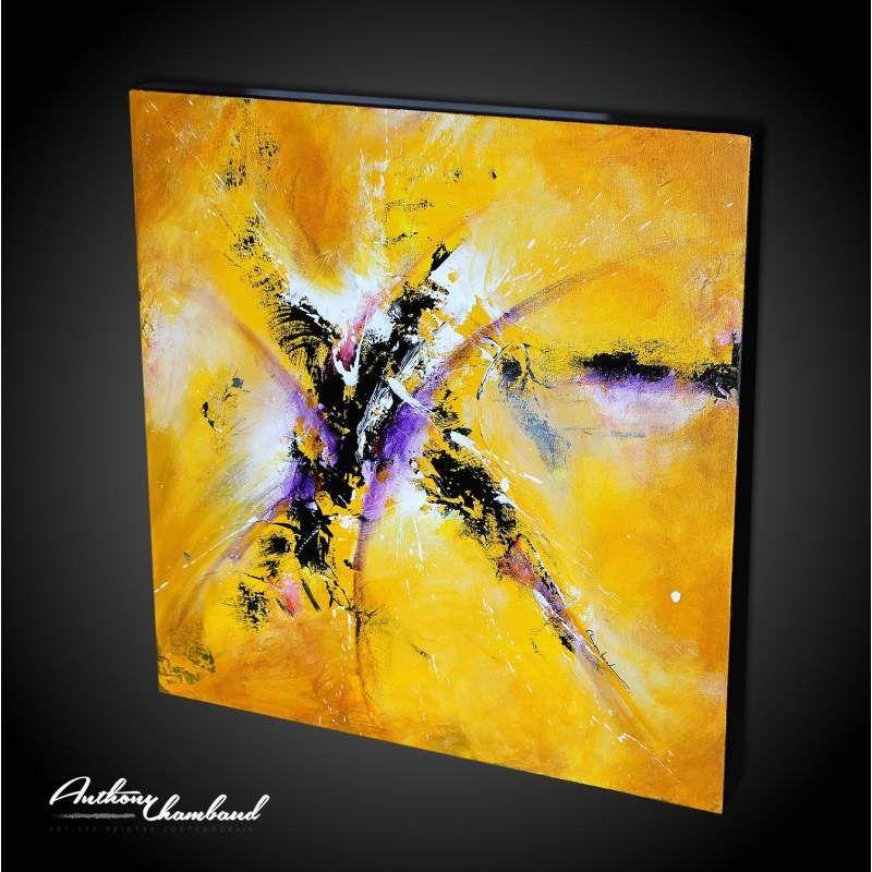 Tableau jaune abstrait couleurs chaudes peinture acrylique et le tableau - Tableau peinture acrylique moderne ...