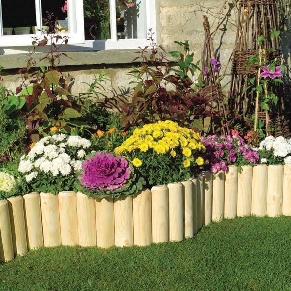 Wooden log roll garden border edging 6 9 x 1 8m for Log garden edging