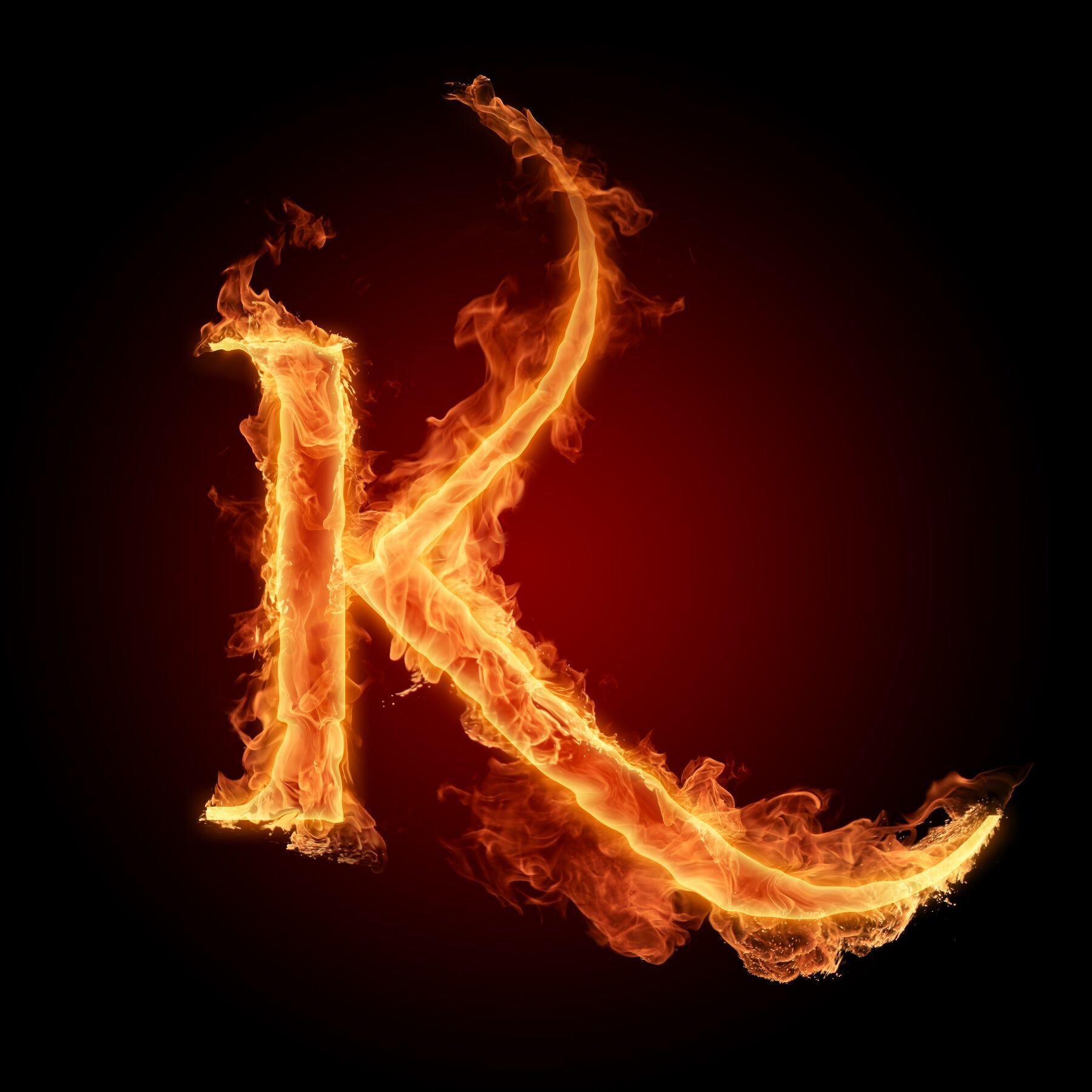 """K"" on Fire ...K Logo In Fire"