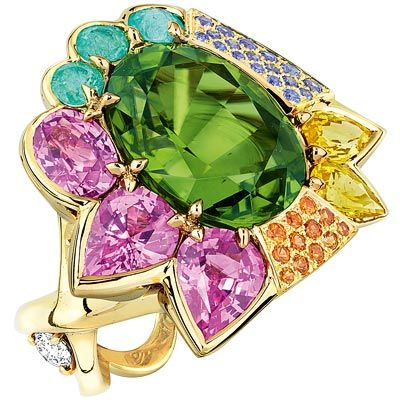Dior Granville Péridot ring -  yellow gold, diamonds, peridot, pink and yellow sapphires, Paraiba-type tourmalines, sapphires and mandarin garnets