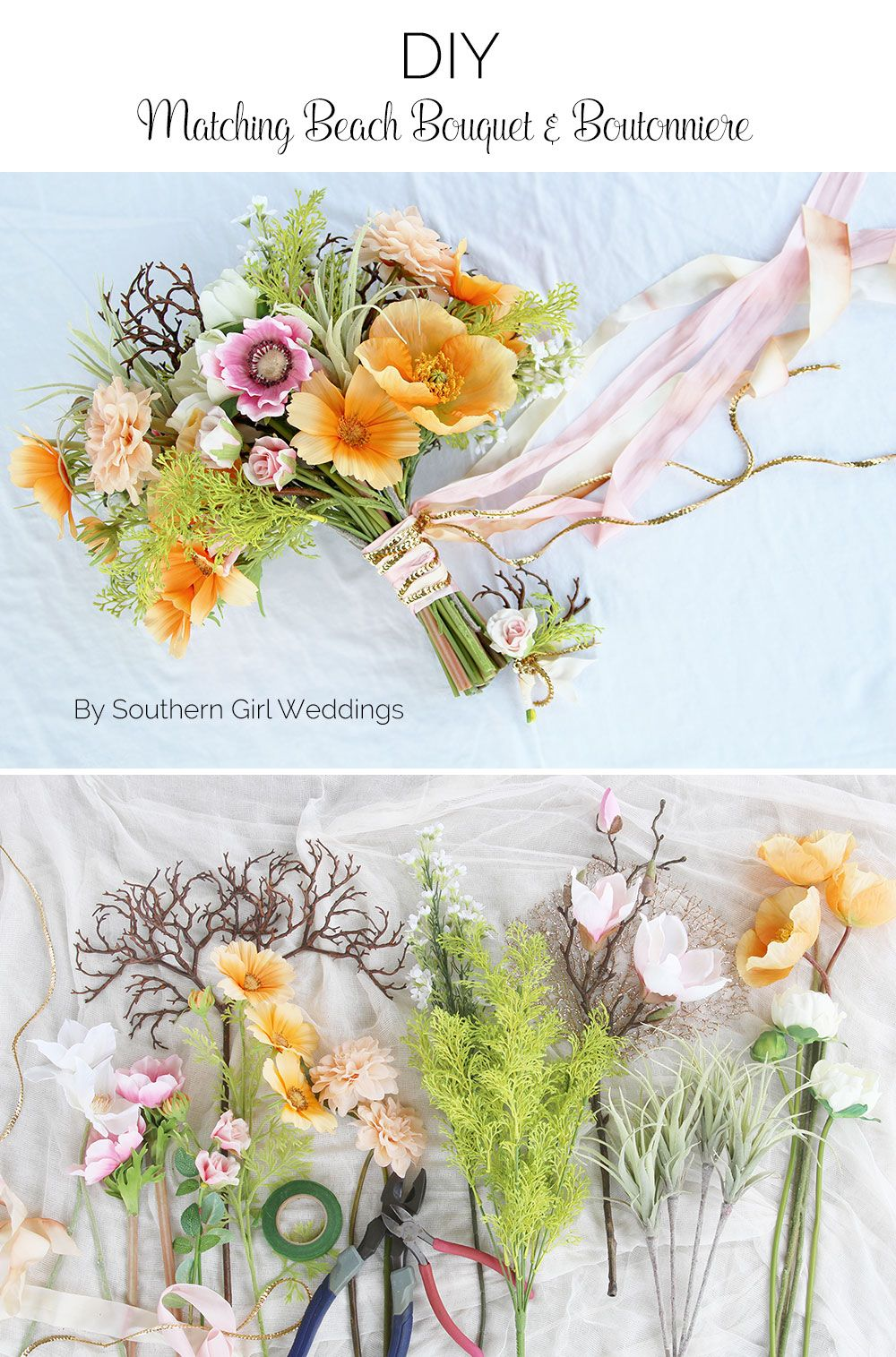 Diy bouquet boutonniere beach theme beach wedding pinterest learn how to make your own beach themed wedding bouquet and matching boutonniere with this simple mightylinksfo