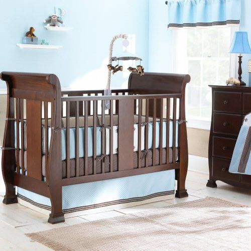 Sleigh-style convertible crib and coordinating pieces offer style ...