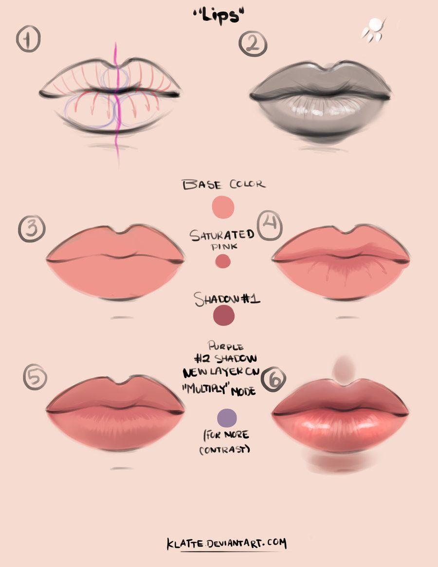 Lips Tutorial By Klatte On Deviantart Digital Art Tutorial Lip
