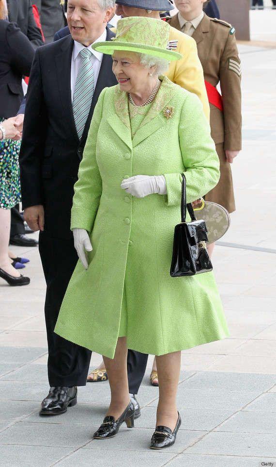 Queen Elizabeth II wearing Queen of Green colors:) Turning green into gold!