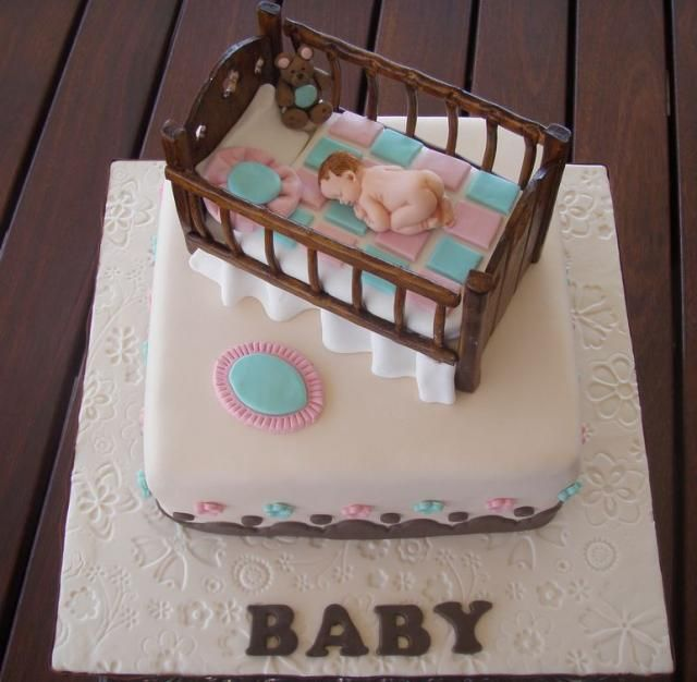 Baby Shower cake with baby in cribJPG Baby Ideas Pinterest