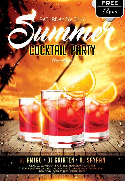 Plantilla Psd Gratis Summer Cocktail Party  AfichesPoster
