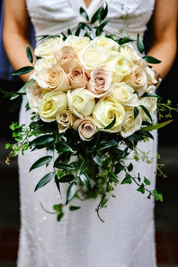 Cascading Bouquet With Ivy Italian Ruscus And Roses Of Ivory Blush