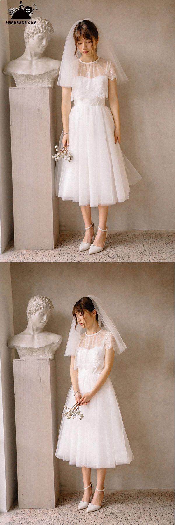Vintage short tulle tea length simple wedding dress with spaghetti