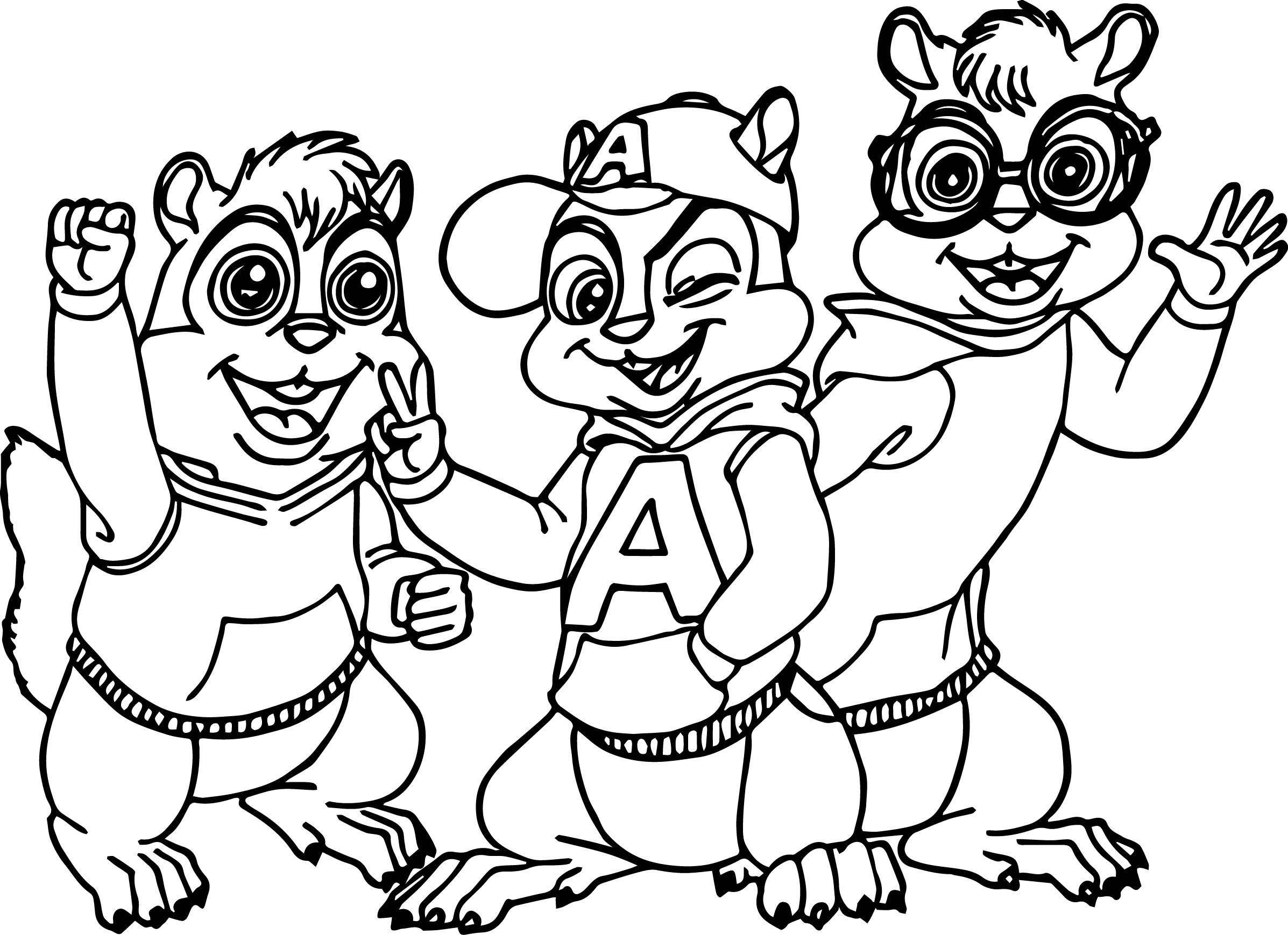 cool alvin simon and theodore alvin and the chipmunks coloring page