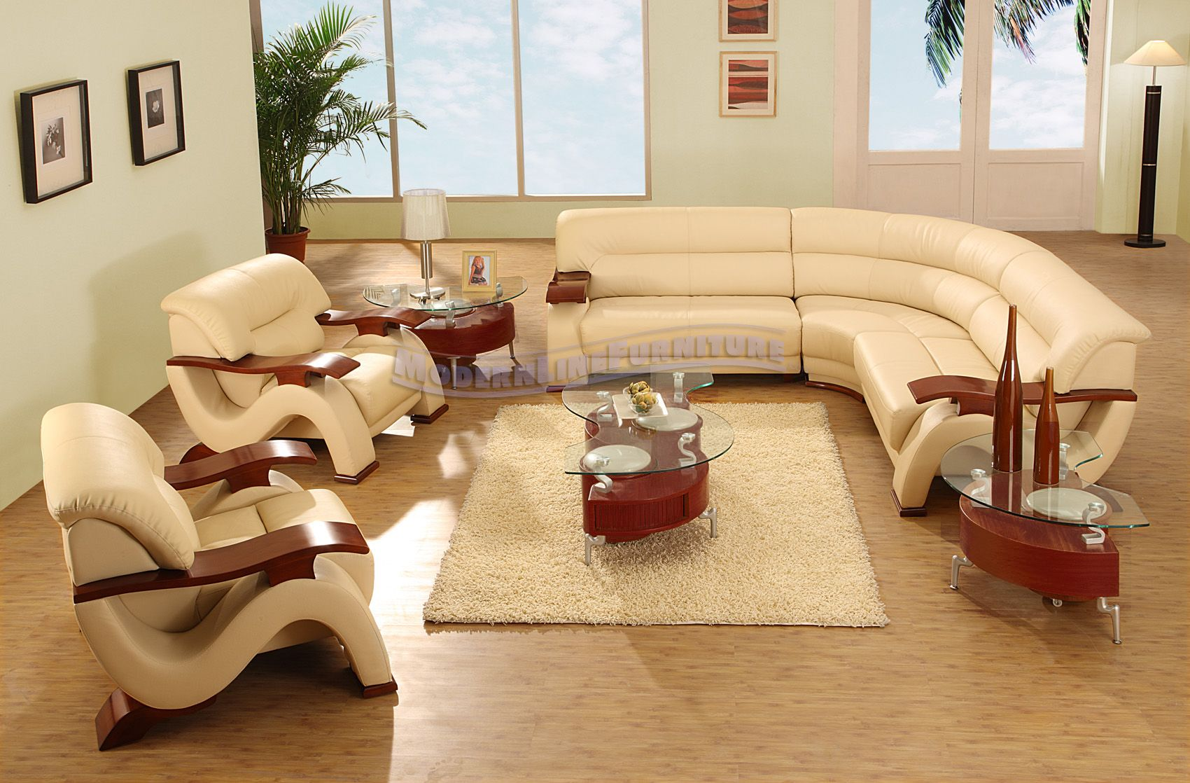 Modern Beige Leather Sectional Sofa with Two Chairs Coffee Table