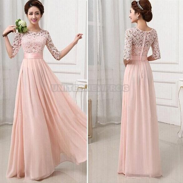Long Women\'s Chiffon Lace Floral Evening Party Formal Bridesmaid ...
