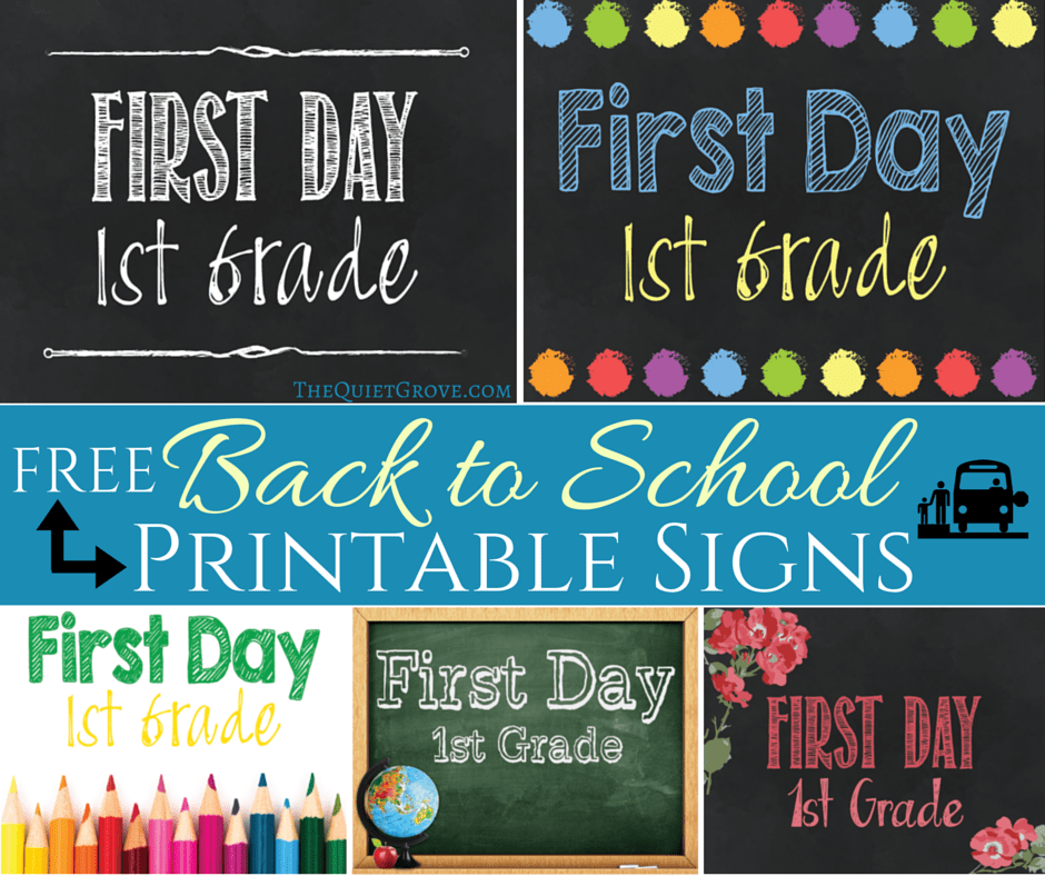 5 Free Back To School Printable Sign Sets In 2018 Crafts