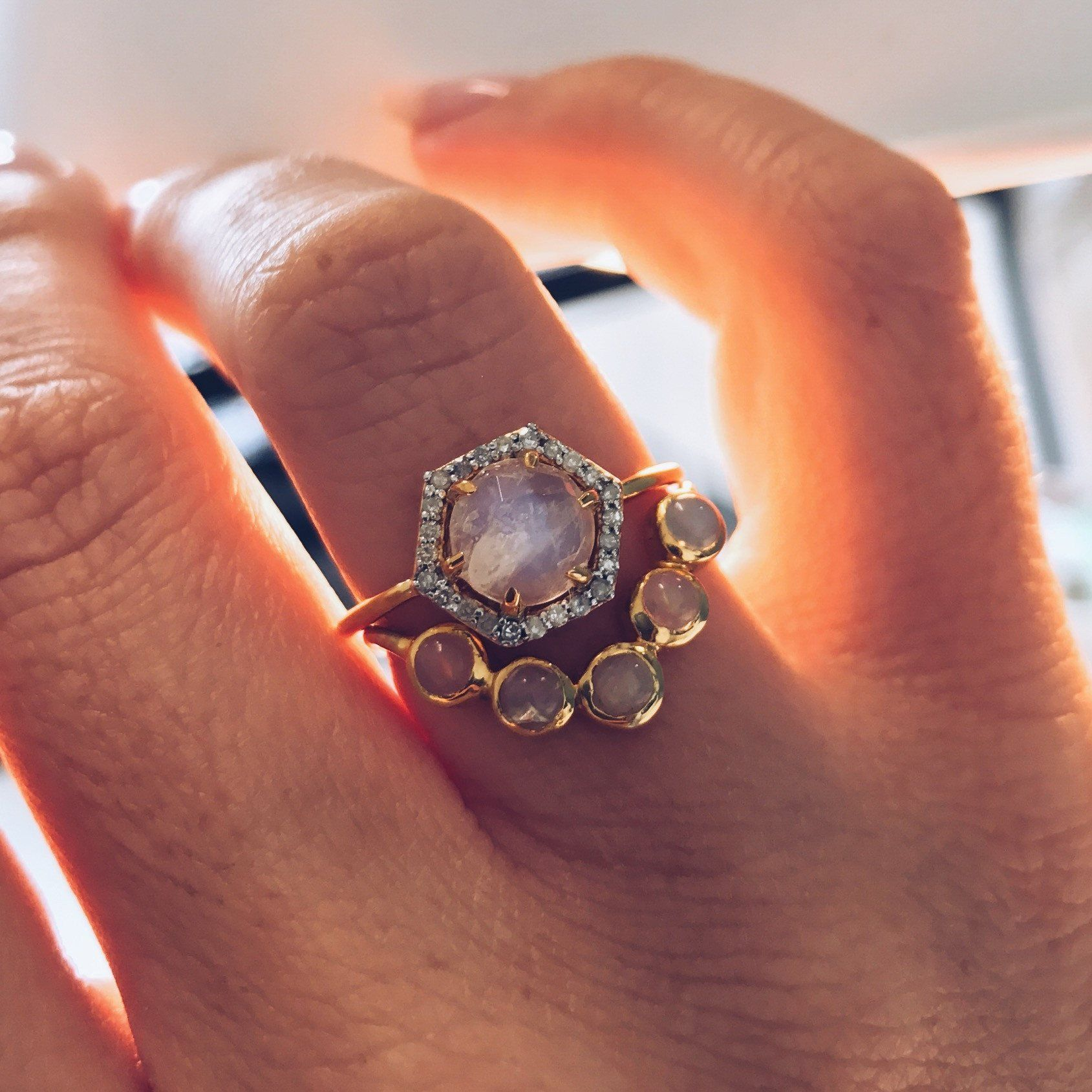 local eclectic To Have & To Hold (Half Halo Opal Ring