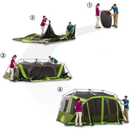 Ozark Trail 9 Person 2 Room Instant Cabin Tent With Screen Room Walmart Com Cabin Tent Tent Tent Camping