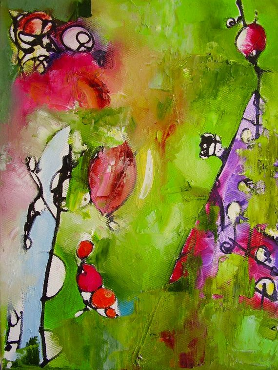 Original painting abstract small green purple rose by Mossmottle