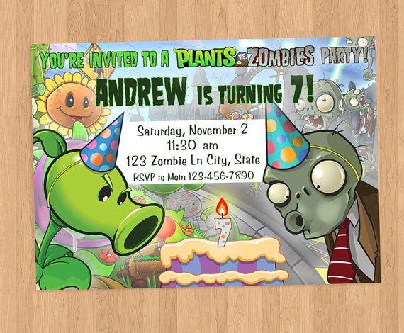 Plants vs Zombies Birthday Invitation Printable Party time Invitaciones de cumpleaños
