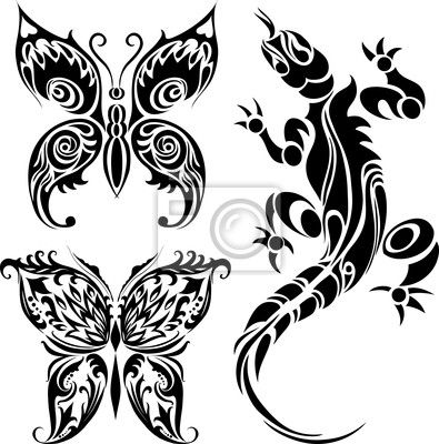 tattoo-rysunki-motyli-i-jaszczurki.jpg (395×400)