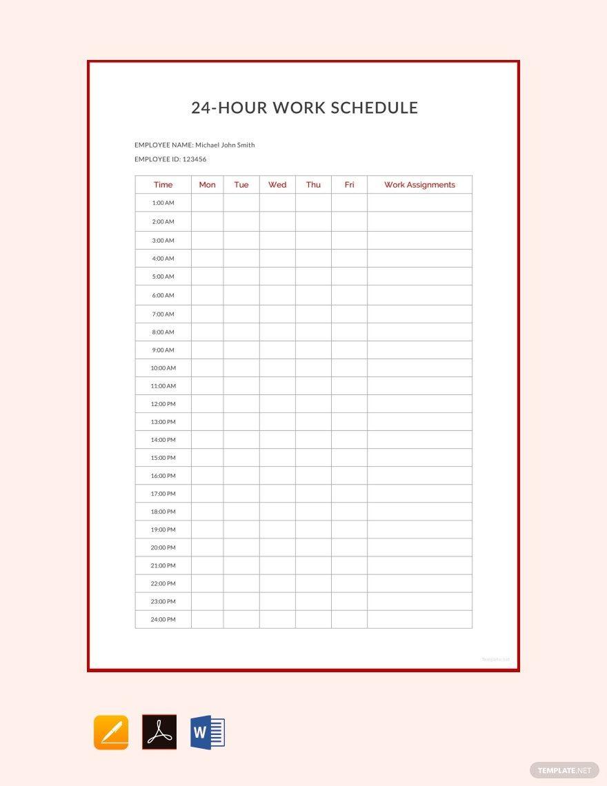 Free 24 Hour Work Schedule Template in 2020 Schedule