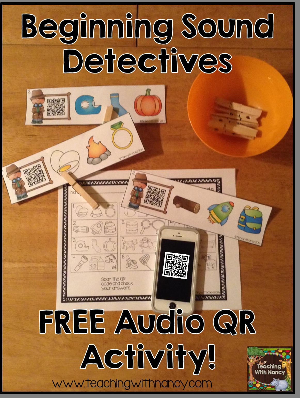 Beginning Sound Detectives Free Qr Code Activity
