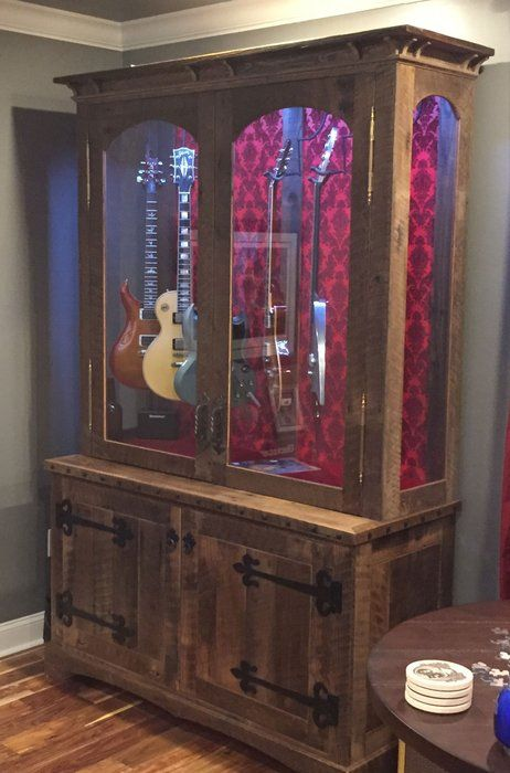 Wonderful Oak Barn Wood Guitar Display Cabinets