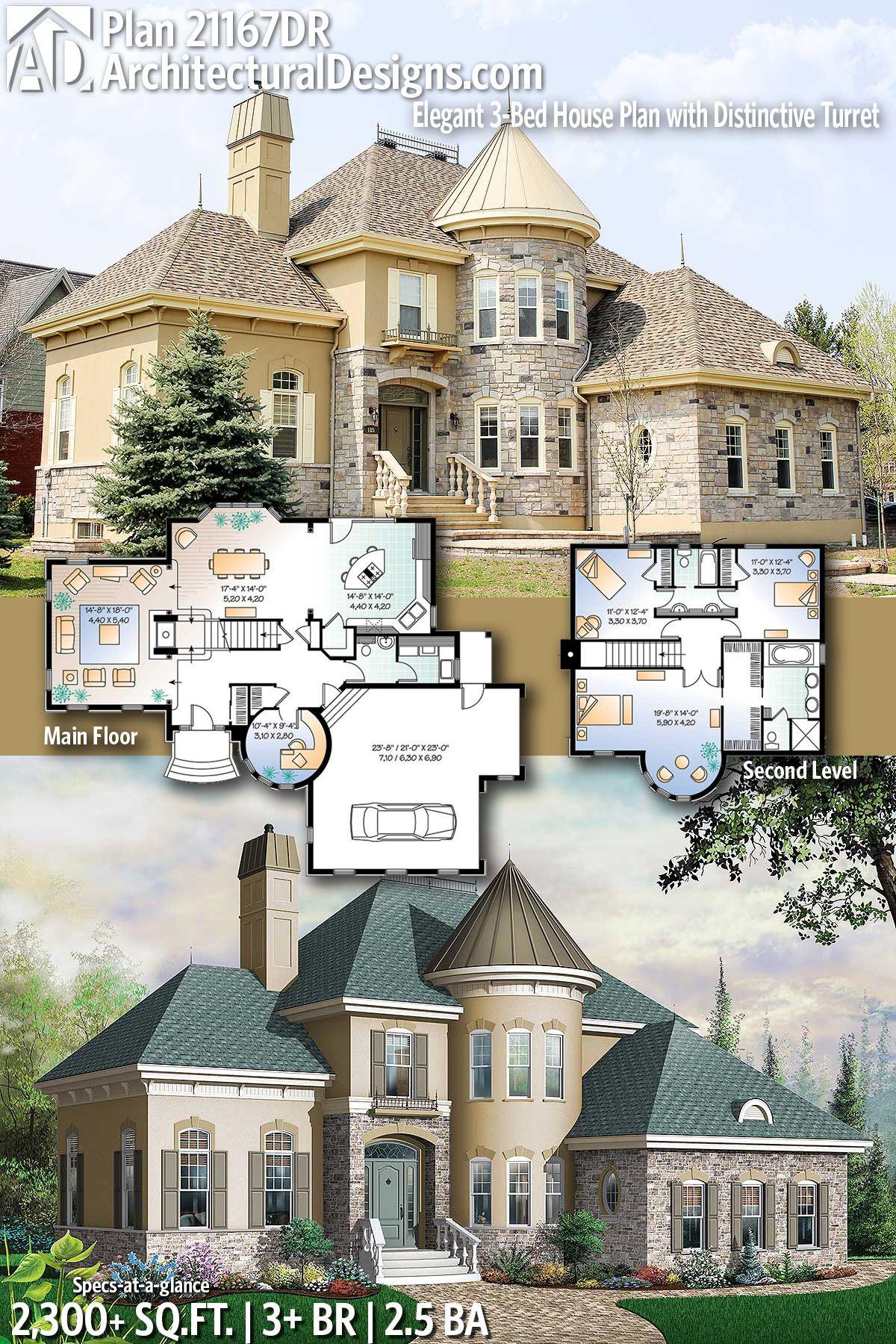 Plan 21167dr Elegant 3 Bed House Plan With Distinctive Turret House Plans Architectural Design House Plans House Blueprints