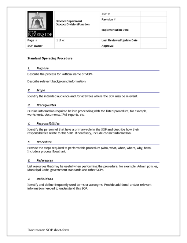 Standard Operating Procedures Examples Standard Operating