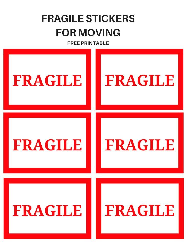 FRAGILE Moving Stickers Moving labels, Printable moving