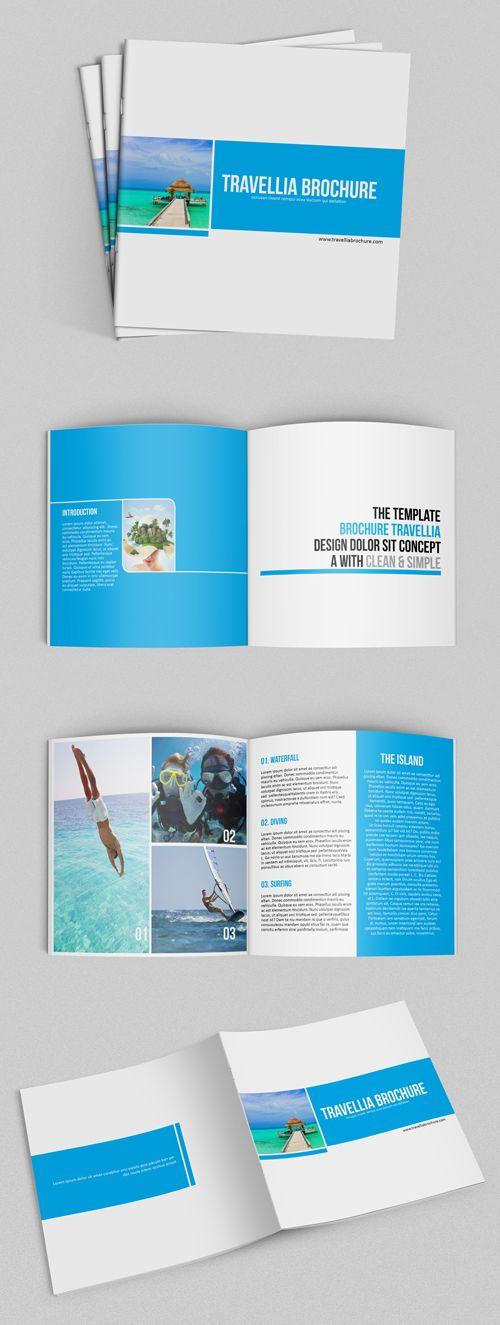 Square Travellia Brochure Template,SQUARE print ready Indesign - tourist brochure template