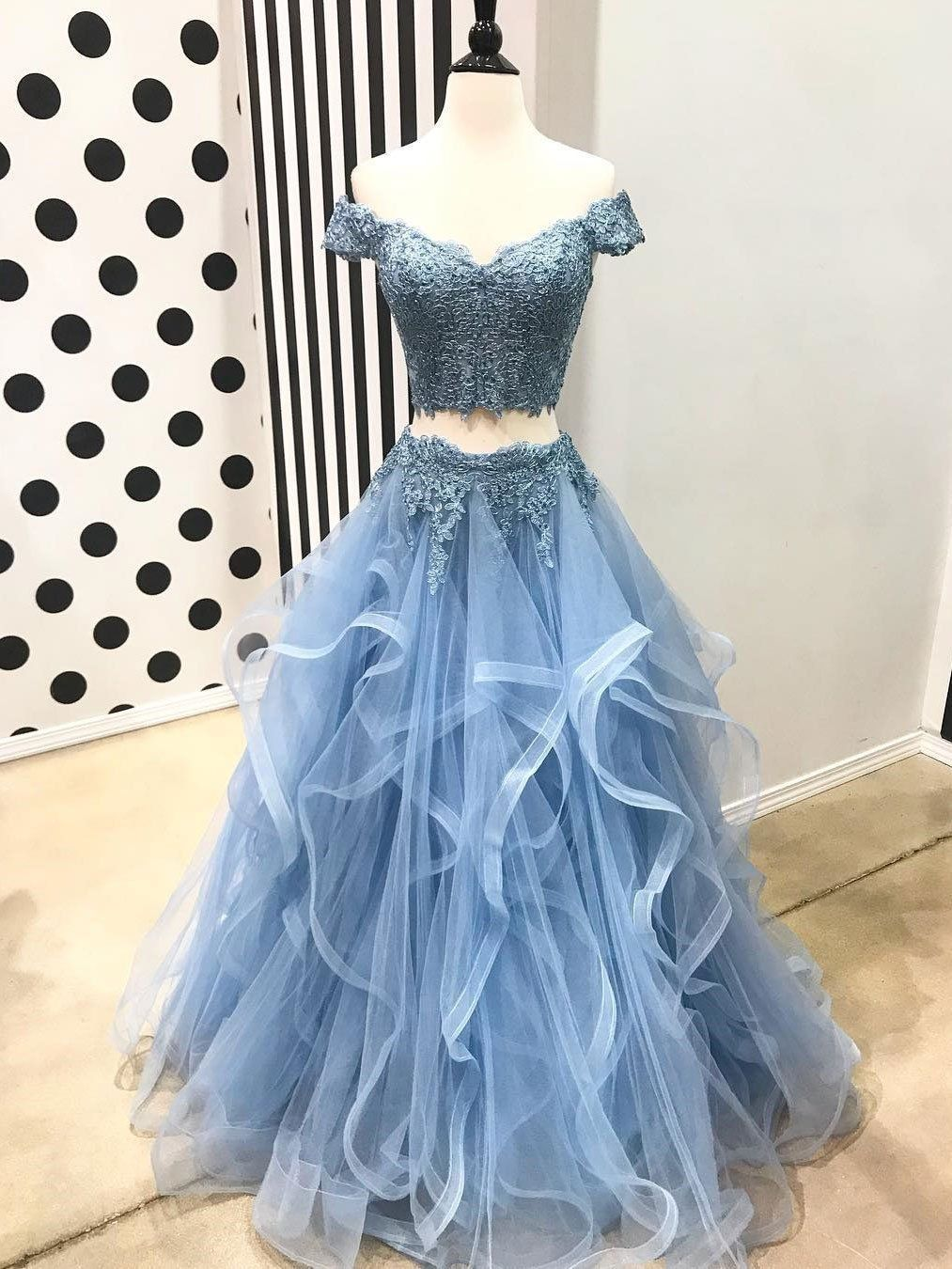 Off the shoulder two piece prom dresseslace piece formal dresses