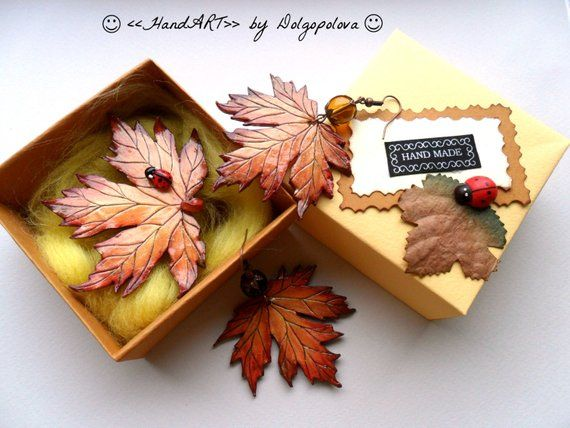 Autumn jewelry – polymer clay jewelry – Halloween – leaf earrings – autumn brooch – womens jewelry – polymer clay brooch – gift ideas