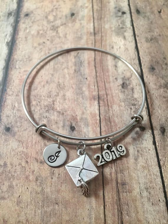 2019 graduation initial bangle graduation gift jewelry gift for 2019 graduation initial bangle graduation gift jewelry gift mozeypictures Images