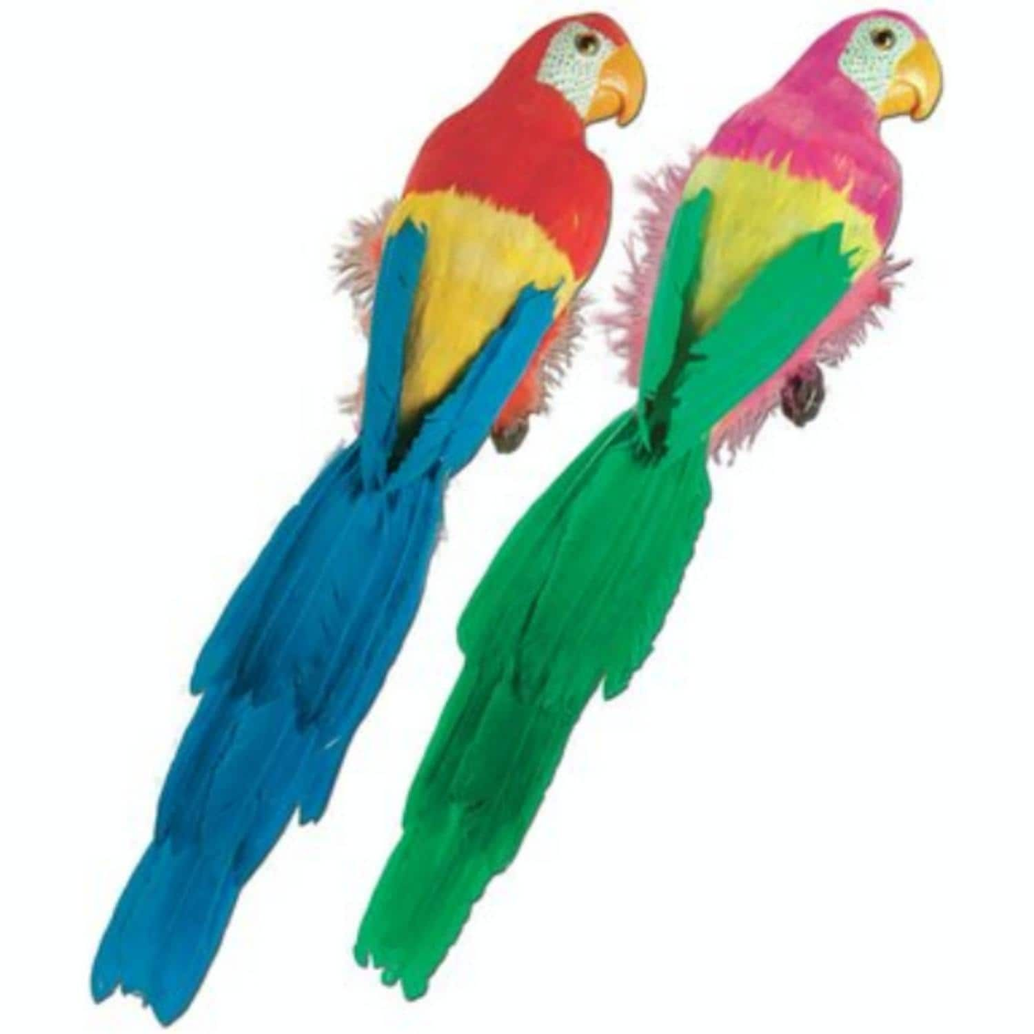 Pack of 6 Large Vibrant Brightly Colored Feathered Parrot Luau Party Decorations 20, Multi