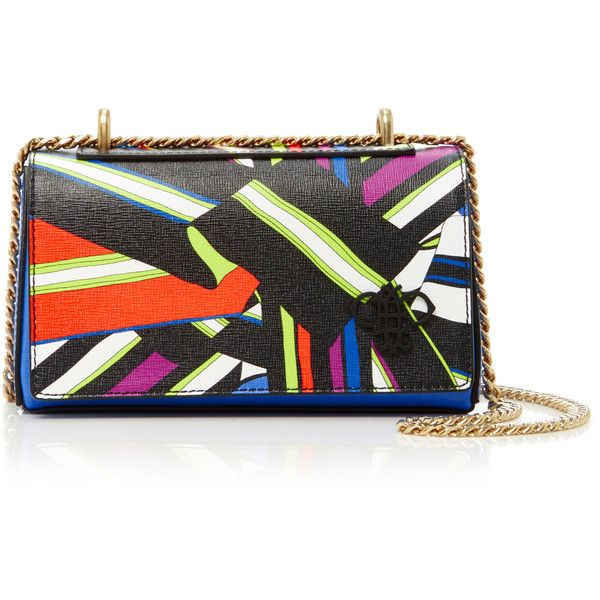 Emilio Pucci Foldover Crossbody Mini (12.527.385 IDR) ❤ liked on Polyvore featuring bags, handbags, shoulder bags, multi, crossbody shoulder bag, leather crossbody purse, chain shoulder bag, mini crossbody and leather cross body purse