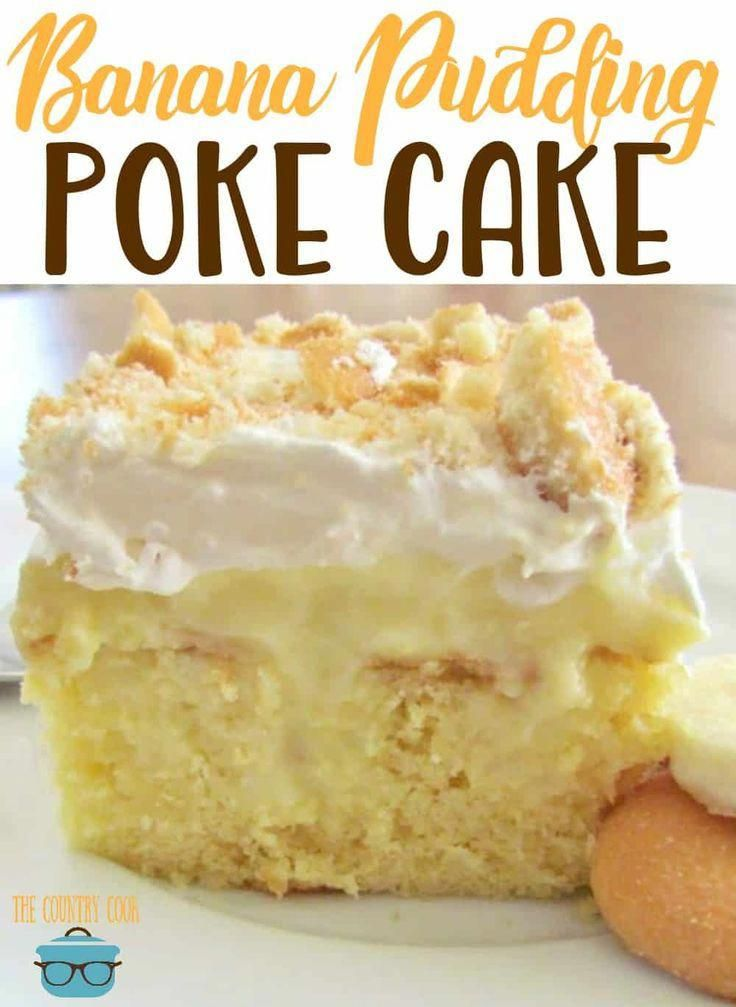 Best Banana Pudding Poke Cake is an easy original recipe made with cake mix poked with banana pudding, topped with Cool Whip and crushed Nilla Wafers!