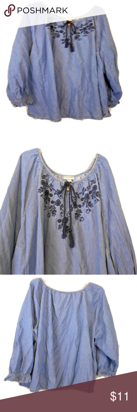 ca760073b83 Catherine s Floral Embroidered Peasant Top Pretty and Feminine Chambray  Denim Blouse