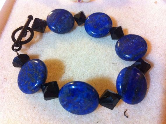 Dark Blue and Black bracelet and Earrings by lacy2698 on Etsy, $15.00