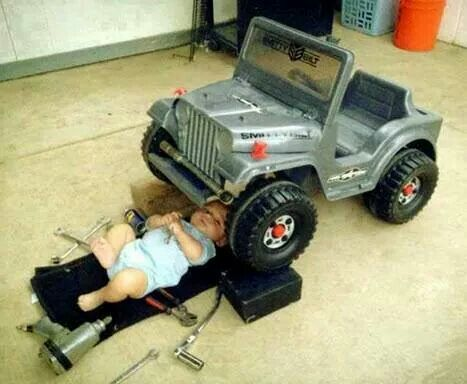 Most Adorable Baby Boy Fixes His Toy Jeep Like Father Like Son