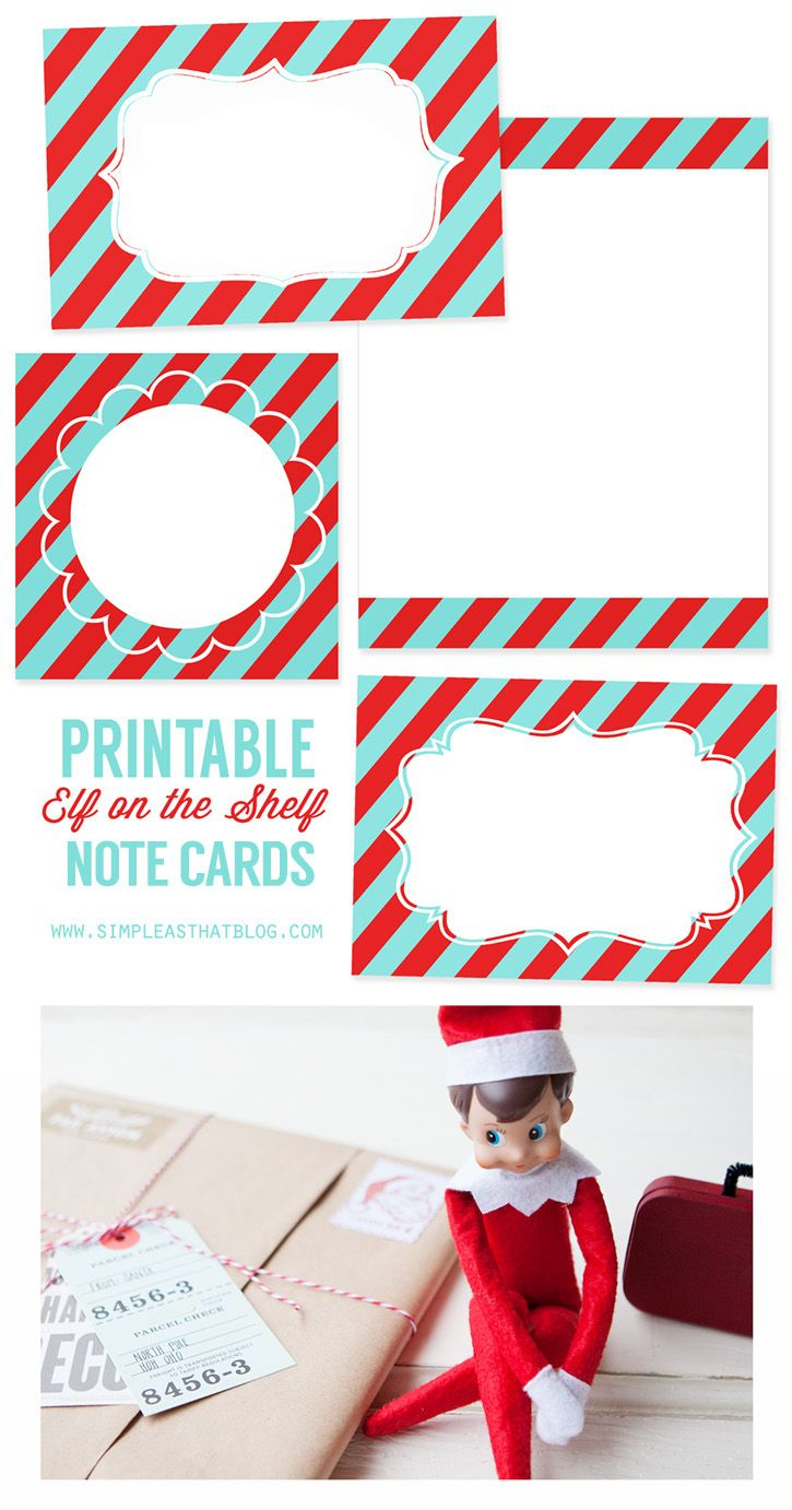 Printable Elf on the Shelf Note Cards | Note cards, Elves and Shelves