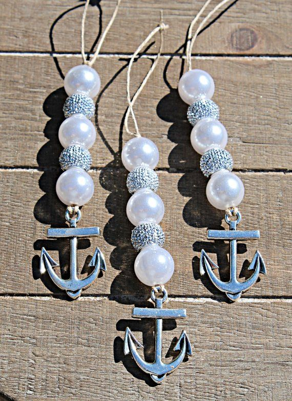Anchor Christmas Ornament Set/Nautical Christmas/Coastal Christmas