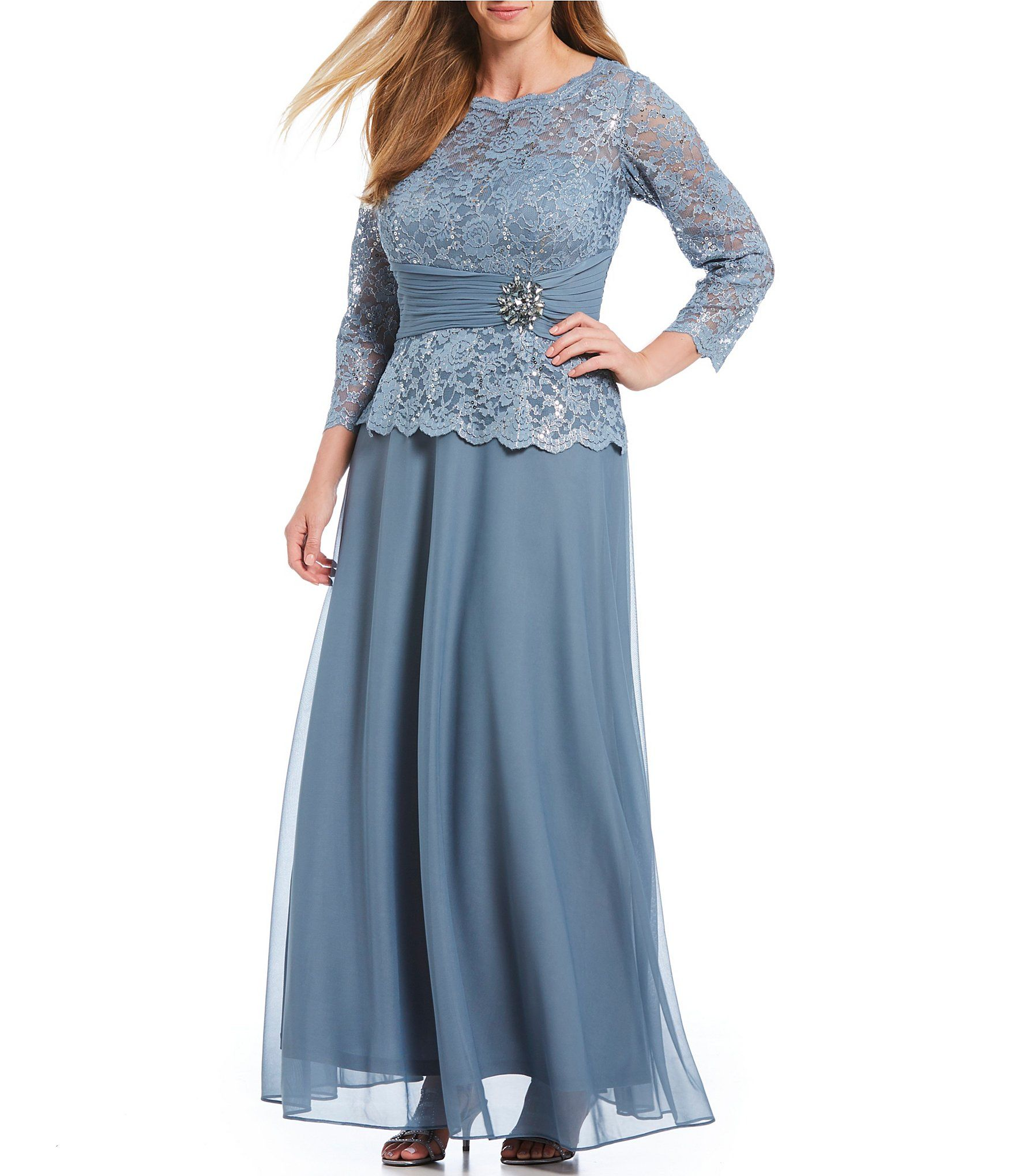 Cachet Plus Size 3/4 Sleeve Glitter Sequin Lace Gown in 2019 ...