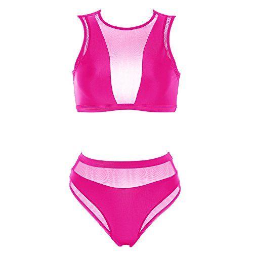 22ac1c761f8ba Dixperfect Women s Mesh Insert Bikini Sets Swimsuits High Neck Crop Top  with High Waisted Bottoms Bathing