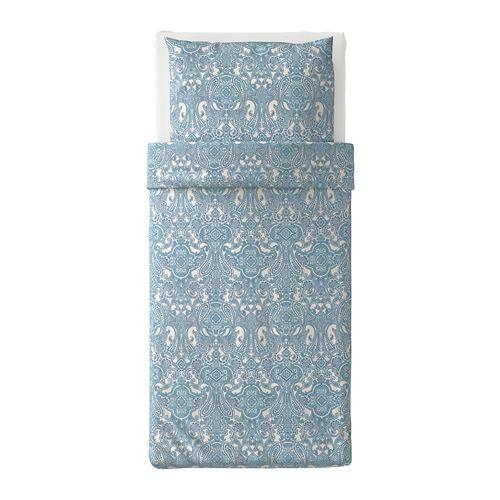 JÄttevallmo Bettwäscheset 2 Teilig Weiß Blau Ikea