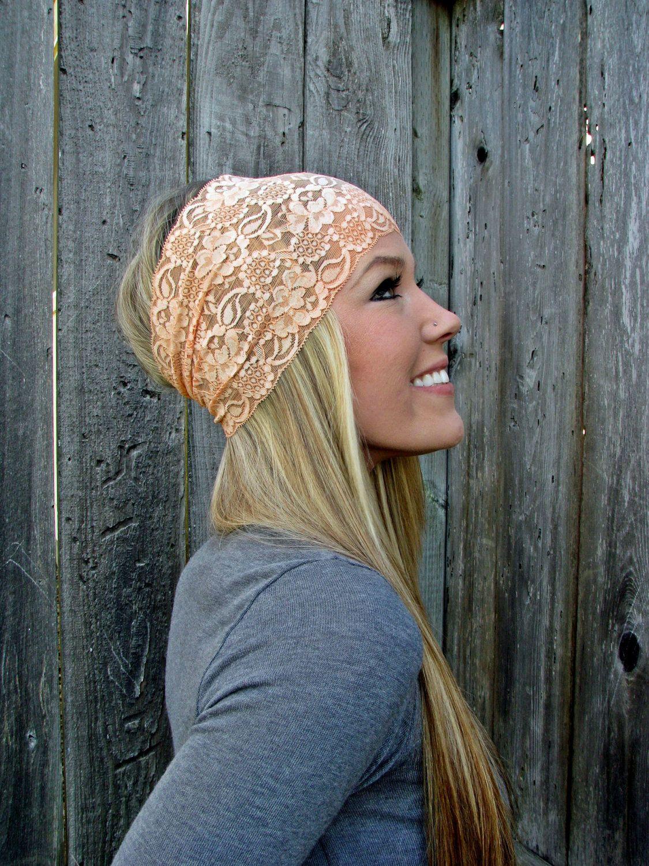 Wide Stretch Lace Headband In Peach Soft Orange By