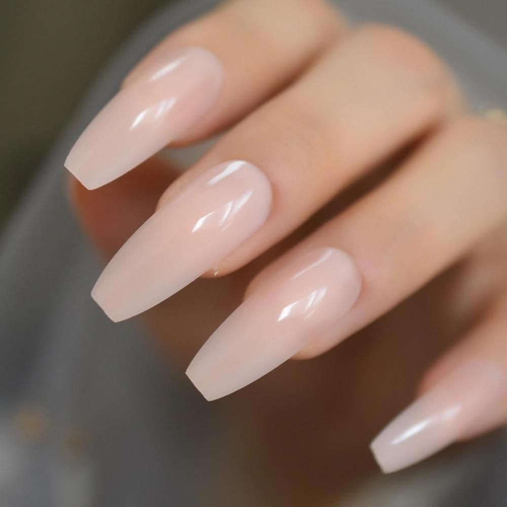 Nude Extra Long Fake Coffin Nails
