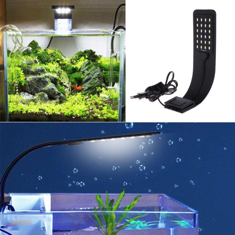 Mild Fish Tank Led Mild Eu Plug 10w Tremendous Slim Aquarium Led Lights Aquatic Plant Lighting Clip On Lamp Vegetation Develop