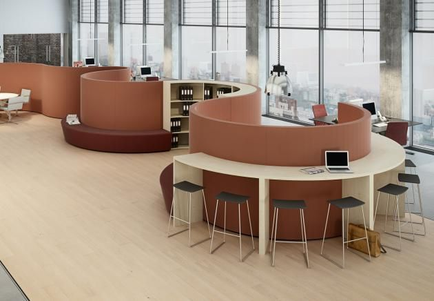 SWING multi section with library, desking & seating