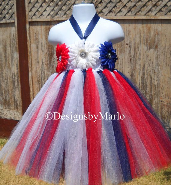 Red white navy blue patriotic tutu dress 4th of by Designsbymarlo, $39.50