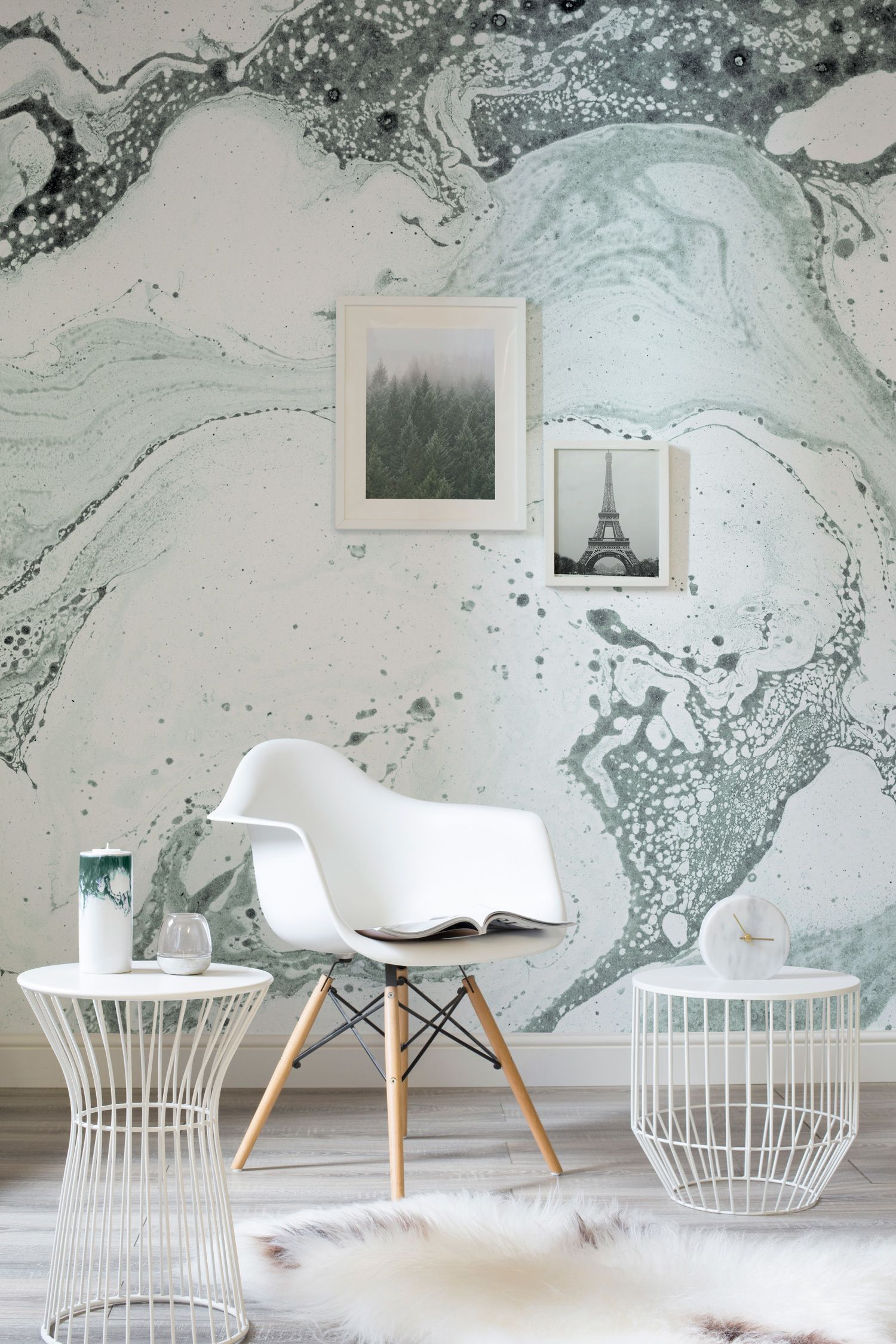 Help Me Design My Living Room: Green Marbleized Wallpaper Mural
