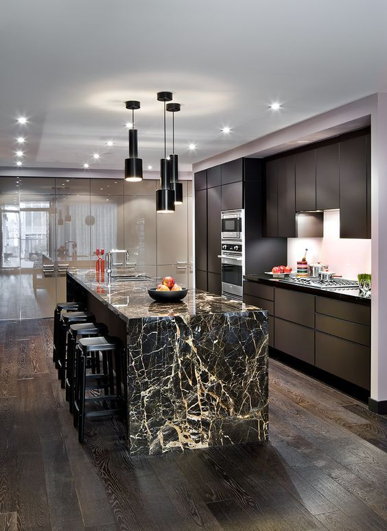 Show Off The Veining Of Your Marble Countertop And Make Simple Wooden Cabinetry Sparkle Marble Countertops Kitchen Kitchen Marble Marble Kitchen Island